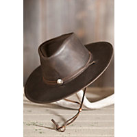 "Weekend Walker Cowhide Leather Hat, Brown, Size Medium (22.25"") Western & Country"