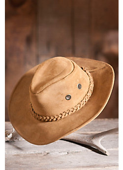 Sueded Cowhide Hiker Hat with Vents