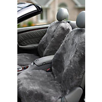 DC-4 Driver Side Sheepskin Car Seat Cover, CHARCOAL, Size 1 SIZE