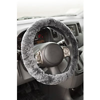 Sheepskin Steering Wheel Cover, Charcoal Western & Country