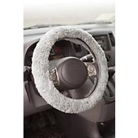 Sheepskin Steering Wheel Cover, Light Silver Western & Country
