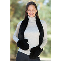 Women's Knitted Rex Rabbit Fur Scarf With Mittens, Black Western & Country