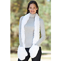 Women's Knitted Rex Rabbit Fur Scarf With Mittens, White Western & Country