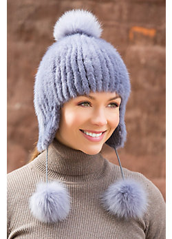 Mink Fur Hat with Fox Fur Poms