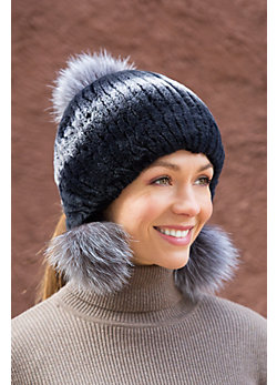 Rex Rabbit Fur Hat with Fox Fur Poms