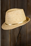 Women's Metallic Raffia Fedora Hat
