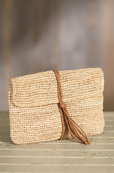 Classic Raffia Crossbody Clutch Handbag