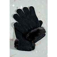 Women's Chenille Gloves with Mink Fur Trim, BLACK, Size 1 Size