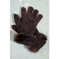 Women's Chenille Gloves with Mink Fur Trim, BROWN, Size 1 Size