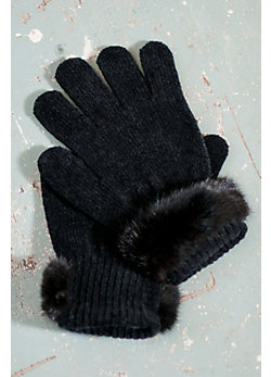 Women's Chenille Gloves with Mink Fur Trim
