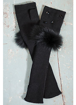 Women's Fingerless Gloves with Crystals and Fox Fur Trim