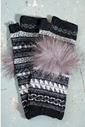 Women's Wool-Blend Fingerless Gloves with Fox Fur Trim