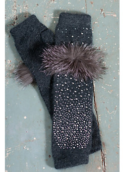 Women's Fingerless Gloves with Sparkles and Fox Fur Trim