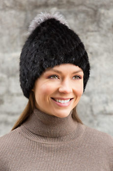Knitted Mink Fur Beanie Hat with Fox Fur Pom
