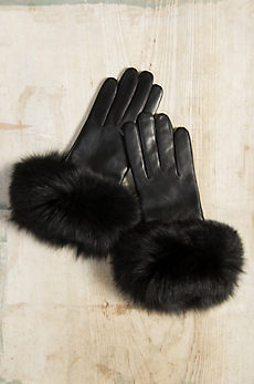 Women's Wool-Lined Lambskin Leather Gloves with Fox Fur Trim