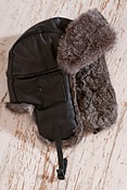 Leather Aviator Hat with Rabbit Fur Trim