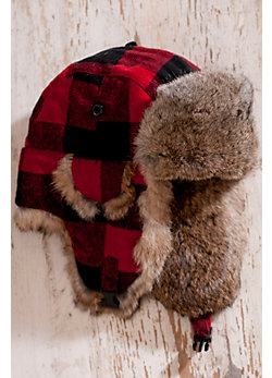 Buffalo Check Aviator Hat with Rabbit Fur Trim