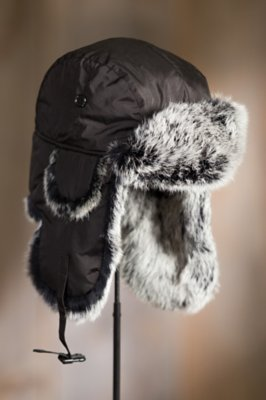 Down-Filled Nylon Trapper Hat with Rabbit Fur Trim