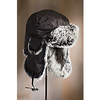 Down-Filled Trapper Hat with Rabbit Fur Trim, BLACK/NATURAL SNOWTOP