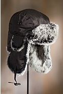Down-Filled Nylon Aviator Hat with Rabbit Fur Trim