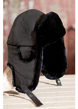 Lambskin Leather Aviator Hat with Sheared Beaver Fur Trim