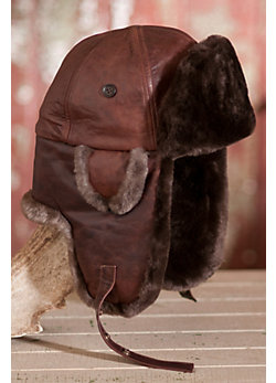 Lambskin Leather Aviator Hat with Beaver Fur Trim