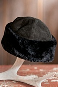 Suede Hat with Sheared Beaver Fur Trim