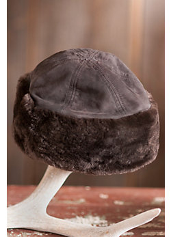 Suede Hat with Natural Sheared Beaver Fur Trim
