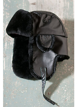 Falcon Leather Aviator Hat with Sheepskin Lining