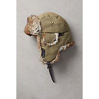 Canvas Trapper Hat with Rabbit Fur Trim