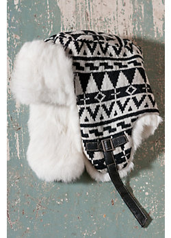 Lambswool Russian-Style Aviator Hat with Rabbit Fur Trim