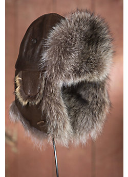 Lambskin Leather Aviator Hat with Raccoon Fur