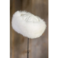 Shadow Fox Fur Cossack Hat with Lambskin Leather Crown, WHITE, Size Medium (7–7 1/8)