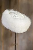 Shadow Fox Fur Cloche Hat with Lambskin Leather Crown
