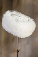 Women's Shadow Fox Fur Cloche Hat with Lambskin Leather Crown