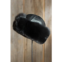 Fox Fur Cloche Hat With Lambskin Leather Crown, Black, Size Xlarge (7 1 / 2 - 7 5 / 8) Western & Country
