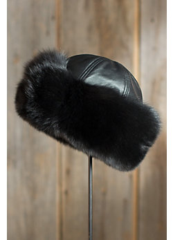 Fox Fur Cloche Hat with Lambskin Leather Crown