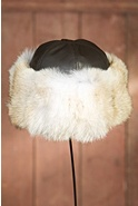 Coyote Fur Cloche Hat with Lambskin Leather Crown