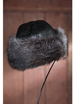 Raccoon Fur Cloche Hat with Lambskin Leather Crown