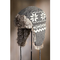 Snowflake Wool Trapper Hat with Rabbit Fur Lining, GREY/GREY