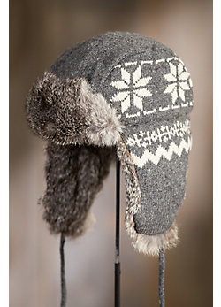 Lambswool Snowflake Aviator Hat with Rabbit Fur