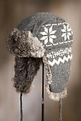 Snowflake Wool Aviator Hat with Rabbit Fur Lining