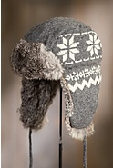 Snowflake Wool Trapper Hat with Rabbit Fur Lining