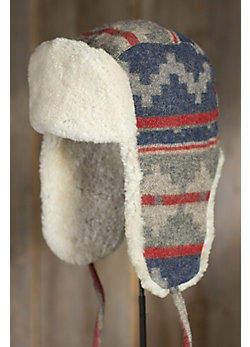 Navajo Wool Aviator Hat with Shearling Lining