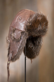 Lambskin Leather Trapper Hat with Beaver Fur Lining