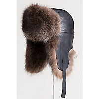 Canadian Lambskin Leather Trapper Hat with Raccoon Fur Trim, BLACK/NATURAL