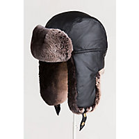 Lambskin Leather Trapper Hat with 2-Tone Rabbit Fur Trim, BLACK/BROWN