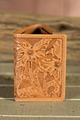 Las Flores Hand-Tooled Trifold Leather Wallet