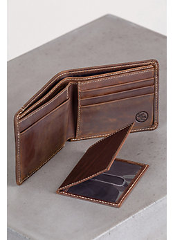Western Classic Leather Wallet with Removable ID Case