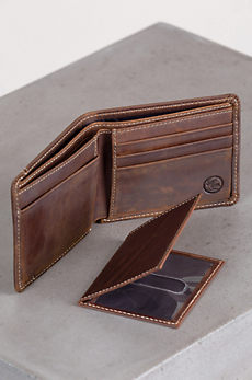 Western Classic Leather Billfold Wallet with Removable ID Case